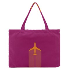Airplane Jet Yellow Flying Wings Zipper Medium Tote Bag