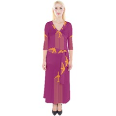 Airplane Jet Yellow Flying Wings Quarter Sleeve Wrap Maxi Dress