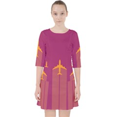 Airplane Jet Yellow Flying Wings Pocket Dress