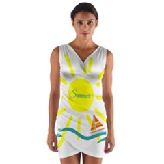 Summer Beach Holiday Holidays Sun Wrap Front Bodycon Dress