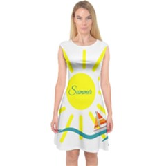 Summer Beach Holiday Holidays Sun Capsleeve Midi Dress