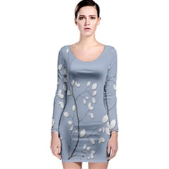 Branch Leaves Branches Plant Long Sleeve Bodycon Dress