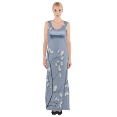Branch Leaves Branches Plant Maxi Thigh Split Dress