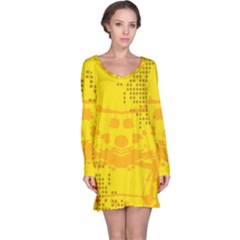 Texture Yellow Abstract Background Long Sleeve Nightdress