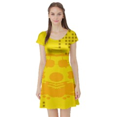 Texture Yellow Abstract Background Short Sleeve Skater Dress