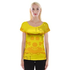 Texture Yellow Abstract Background Cap Sleeve Tops