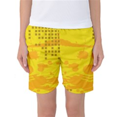 Texture Yellow Abstract Background Women s Basketball Shorts