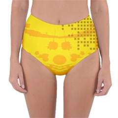 Texture Yellow Abstract Background Reversible High Waist Bikini Bottoms