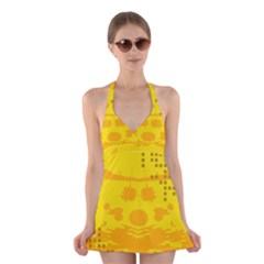 Texture Yellow Abstract Background Halter Dress Swimsuit