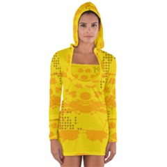 Texture Yellow Abstract Background Long Sleeve Hooded T Shirt