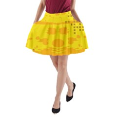 Texture Yellow Abstract Background A Line Pocket Skirt