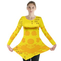 Texture Yellow Abstract Background Long Sleeve Tunic