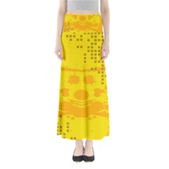 Texture Yellow Abstract Background Full Length Maxi Skirt