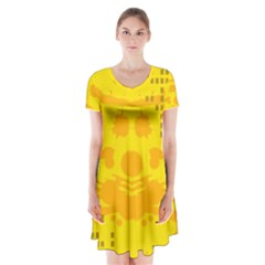 Texture Yellow Abstract Background Short Sleeve V Neck Flare Dress