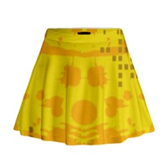Texture Yellow Abstract Background Mini Flare Skirt
