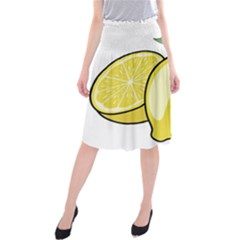 Lemon Fruit Green Yellow Citrus Midi Beach Skirt