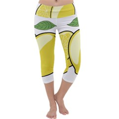 Lemon Fruit Green Yellow Citrus Capri Yoga Leggings
