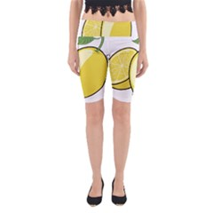 Lemon Fruit Green Yellow Citrus Yoga Cropped Leggings