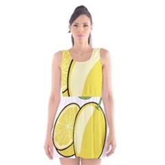 Lemon Fruit Green Yellow Citrus Scoop Neck Skater Dress