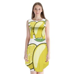 Lemon Fruit Green Yellow Citrus Sleeveless Chiffon Dress
