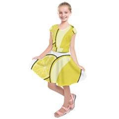 Lemon Fruit Green Yellow Citrus Kids  Short Sleeve Dress