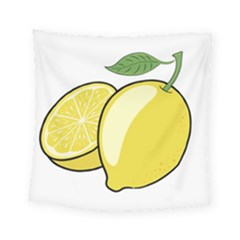 Lemon Fruit Green Yellow Citrus Square Tapestry (small)