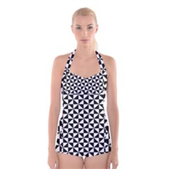 Triangle Pattern Simple Triangular Boyleg Halter Swimsuit