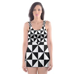 Triangle Pattern Simple Triangular Skater Dress Swimsuit