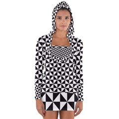 Triangle Pattern Simple Triangular Long Sleeve Hooded T Shirt