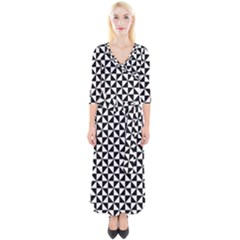 Triangle Pattern Simple Triangular Quarter Sleeve Wrap Maxi Dress