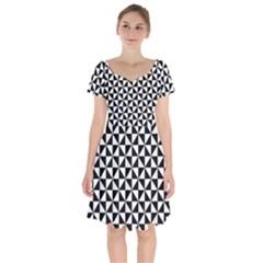 Triangle Pattern Simple Triangular Short Sleeve Bardot Dress