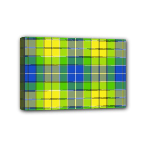 Spring Plaid Yellow Blue And Green Mini Canvas 6  X 4