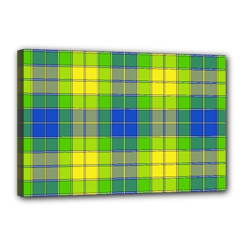 Spring Plaid Yellow Blue And Green Canvas 18  X 12