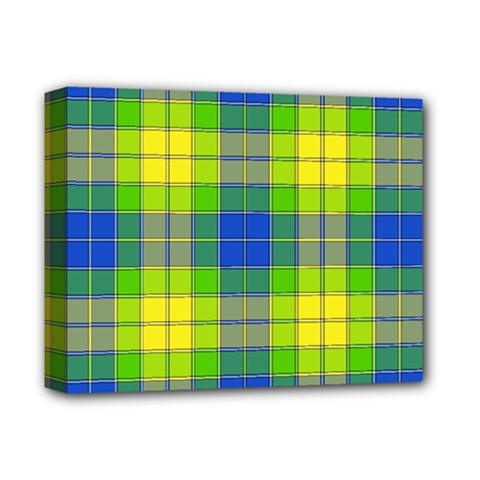 Spring Plaid Yellow Blue And Green Deluxe Canvas 14  X 11
