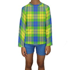 Spring Plaid Yellow Blue And Green Kids  Long Sleeve Swimwear