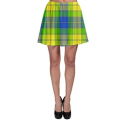 Spring Plaid Yellow Blue And Green Skater Skirt