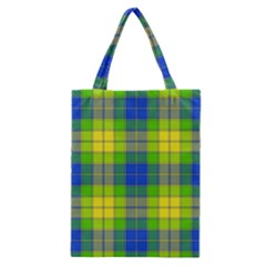 Spring Plaid Yellow Blue And Green Classic Tote Bag