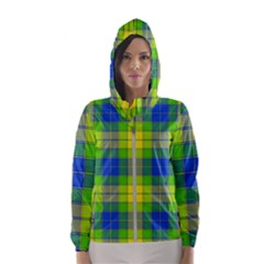 Spring Plaid Yellow Blue And Green Hooded Wind Breaker (women)