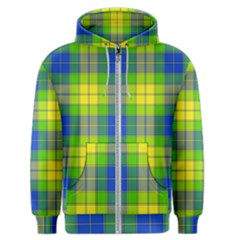 Spring Plaid Yellow Blue And Green Men s Zipper Hoodie
