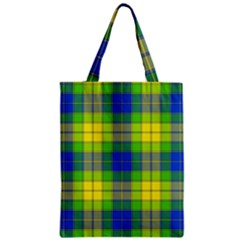 Spring Plaid Yellow Blue And Green Zipper Classic Tote Bag