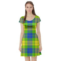 Spring Plaid Yellow Blue And Green Short Sleeve Skater Dress