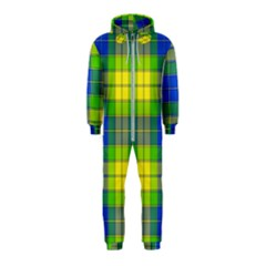 Spring Plaid Yellow Blue And Green Hooded Jumpsuit (kids)