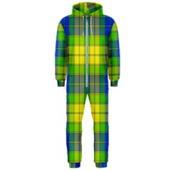 Spring Plaid Yellow Blue And Green Hooded Jumpsuit (men)