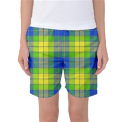 Spring Plaid Yellow Blue And Green Women s Basketball Shorts