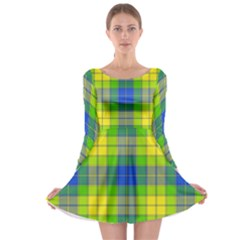 Spring Plaid Yellow Blue And Green Long Sleeve Skater Dress