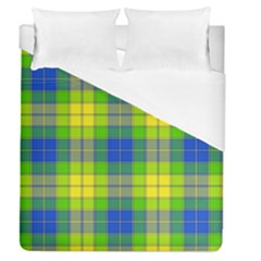 Spring Plaid Yellow Blue And Green Duvet Cover (queen Size)