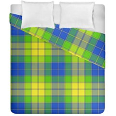 Spring Plaid Yellow Blue And Green Duvet Cover Double Side (california King Size)
