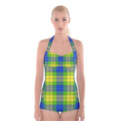 Spring Plaid Yellow Blue And Green Boyleg Halter Swimsuit
