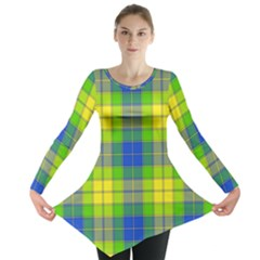 Spring Plaid Yellow Blue And Green Long Sleeve Tunic