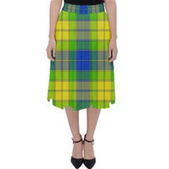 Spring Plaid Yellow Blue And Green Folding Skater Skirt